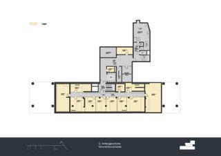 Grundriss 2. Untergeschoss Privera Hauptsitz von Marazzi + Paul Architekten AG