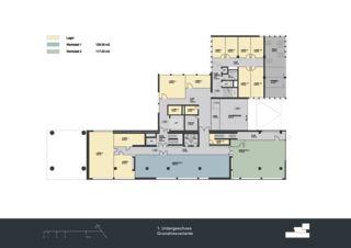 Grundriss 1. Untergeschoss Privera Hauptsitz von Marazzi + Paul Architekten AG
