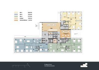 Grundriss Erdgeschoss Privera Hauptsitz von Marazzi + Paul Architekten AG