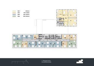 Grundriss 1. Obergeschoss Privera Hauptsitz von Marazzi + Paul Architekten AG