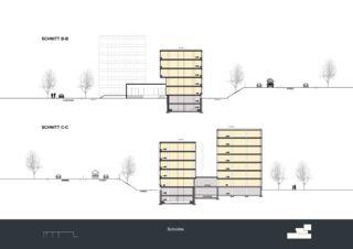 Schnitte Privera Hauptsitz von Marazzi + Paul Architekten AG
