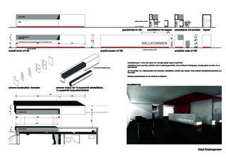 Detail Empfangstresen Privera Hauptsitz von Marazzi + Paul Architekten AG