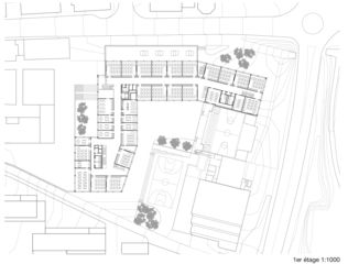 1. Obergeschoss Cycle d'orientation et école préprofessionnelle  von Architectes EPFL FAS SIA<br/>
