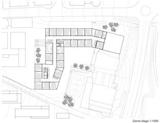 2. Obergeschoss Cycle d'orientation et école préprofessionnelle  von Architectes EPFL FAS SIA<br/>