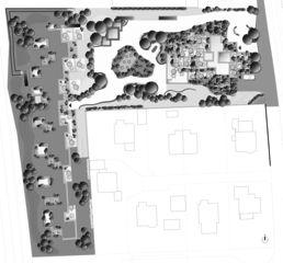 Stollturm Detail Umgebungsgestaltung Panorama- und Gartenhaus im Park von Architektur Rolf Stalder AG