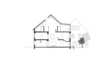 Coupe Maison de l'Absinthe de Atelier d'Architecture Manini Pietrini Sàrl