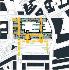 Situationsplan mit Verkehrsschema Gare de Cornavin von Itten+Brechbühl SA