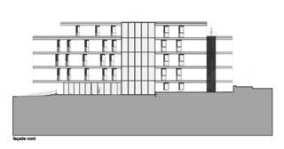 Nordfassade Immeuble d'habitation Minergie P Solaris von Savioz