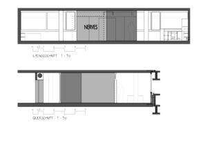 Längs- und Querschnitt 1:50 Nerves Atelierausbau von ARCHmark Hofstetter