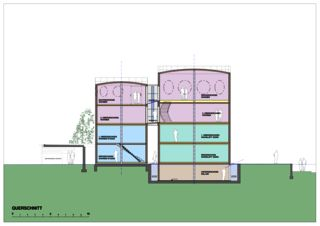Coupe transversale Wohnloft im Silo 8 de Atelier Fred Wittwer