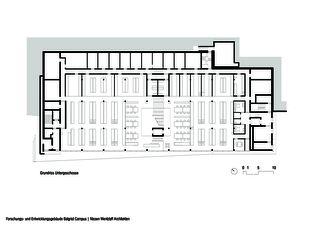 Grundriss Hanggeschoss Forschungs- und Entwicklungsgebäude Balgrist Campus von Nissen & Wentzlaff Architekten BSA SIA AG