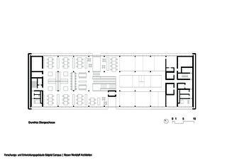 Grundriss Obergeschoss Forschungs- und Entwicklungsgebäude Balgrist Campus von Nissen & Wentzlaff Architekten BSA SIA AG