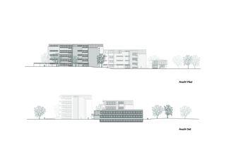 Ansicht und Schnitt Schulanlage Margeläcker in Wettingen von Eglin Schweizer Architekten