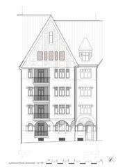 Ansicht Strassenfassade Wohnhaus Apollostrasse  von Andreas Meier Architekt