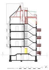 Schnitt Treppenhaus Wohnhaus Apollostrasse  von Andreas Meier Architekt