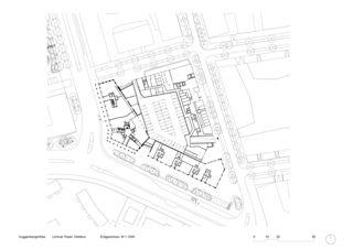 Plan rez-de-chaussée MST 1:1000 Limmat Tower de Architekten ETH SIA BSA<br/>