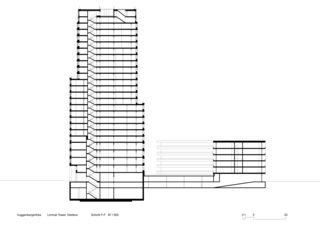 Schnitt F-F Limmat Tower von Architekten ETH SIA BSA<br/>