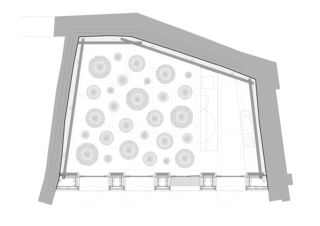 Grundriss des Neubaus mit Bodenmuster Erweiterung Museum Schloss Werdenberg von bbk Architekten AG