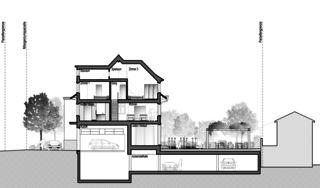 Gartenstadt coupe A-A Restaurant mit Wohnungen de Architektur Rolf Stalder AG