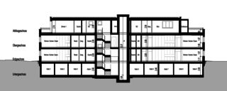 Coupe longitudinale 1 Neubau Mehrfamilienhäuser am Rebberg de Architektur Rolf Stalder AG