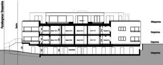 Coupe longitudinale 2 Neubau Mehrfamilienhäuser am Rebberg de Architektur Rolf Stalder AG