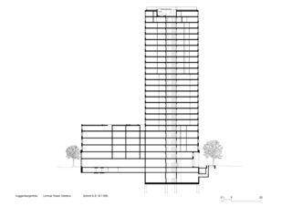 Schnitt E-E Limmat Tower von Architekten ETH SIA BSA<br/>
