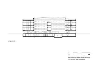 Längsschnitt Alterszentrum Obere Mühle Lenzburg von Oliv Brunner Volk Architekten GmbH