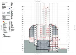 Schnitt Ost-West Complexe Bel-Air von CCHE Lausanne SA