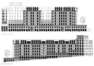 Südfassade, Nord-Ostfassade all'angolo von
