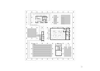 Plan de l'étage des bains Ovaverva Hallenbad, Spa und Sportzentrum de ARGE Bearth & Deplazes Architekten AG