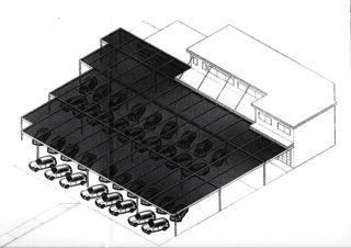 Perspektive Süd-West Autoverkaufsplatz; Hagelschutz-Dach  von Hans Marti Bauplanungen