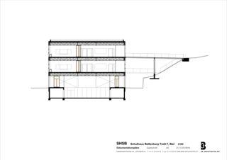 Coupe transversale Sprachheilschule Biel Seeland de 3B Architekten AG