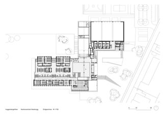 Erdgeschoss M 1:750 Sanierung und Erweiterung Kantonsschule Heerbrugg von Architekten ETH SIA BSA<br/>