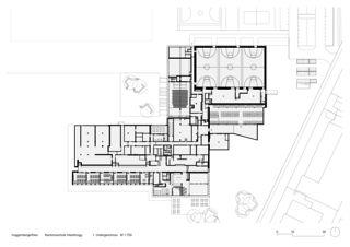 1. Untergeschoss  M 1:750 Sanierung und Erweiterung Kantonsschule Heerbrugg von Architekten ETH SIA BSA<br/>