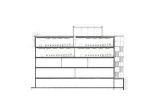 Längsschnitt Hörsäle ZHAW Winterthur, Umbau Bibliothek von Architekten ETH/SIA<br/>
