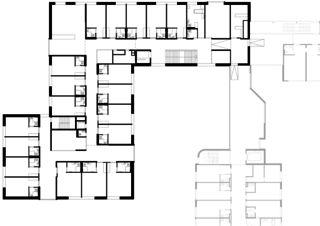 Grundriss 1. OG Altersheim Rosenhügel von blgp architekten ag