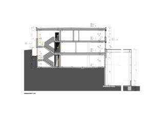 Längsschnitt Bürogebäude mit Werkhalle von Wyss Architektur + Bauleitung GmbH