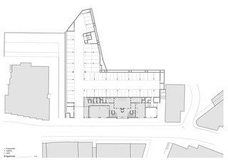 Erdgeschoss Wohnüberbauung und Seniorenwohnungen Chalavus von Pablo Horváth Architekt SIA/SWB