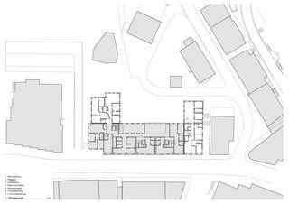 1. Obergeschoss Wohnüberbauung und Seniorenwohnungen Chalavus von Pablo Horváth Architekt SIA/SWB