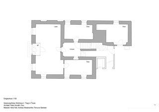 Grundriss Erdgeschoss Anbau, Sanierung Wohnhaus Verena Trepp de Pablo Horváth Architekt SIA/SWB