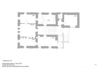 Grundriss 1. Obergeschoss Anbau, Sanierung Wohnhaus Verena Trepp de Pablo Horváth Architekt SIA/SWB