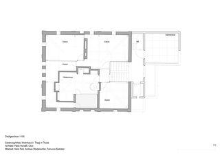 Grundriss Dachgeschoss Anbau, Sanierung Wohnhaus Verena Trepp von Pablo Horváth Architekt SIA/SWB