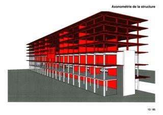 Axonométrie de la structure Espacefusion de kpa architectes Fribourg SA