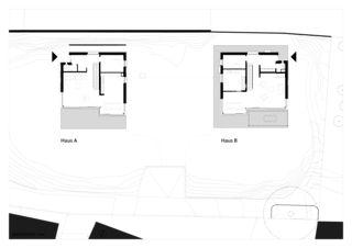 Grundriss Erdgeschoss zwei häuser für zwei brüder von Architekt ETH/SIA<br/>