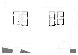 Grundriss Obergeschoss zwei häuser für zwei brüder von Architekt ETH/SIA<br/>