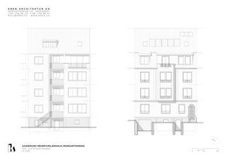 Hof- und Strassenfassade Sanierung Mehrfamilienhaus Morgartenring von KREN Architektur AG