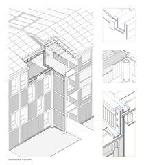 Axonometrie Fassade  Rigaud 55 von Bonhôte Zapata architectes SA