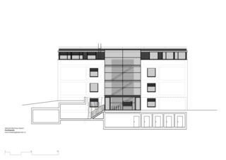façade nord Mehrfamilienhaus Grampenweg 9, Bülach de Hansjörg Betschart,   Architektur + Fotografie