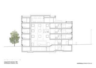 Coupe longitudinale 1:200 Gemeindehaus