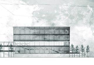 Gravière, vue nord 1:200 «verbindende Landschaften», Beton - & Kieswerk in Bonaduz de